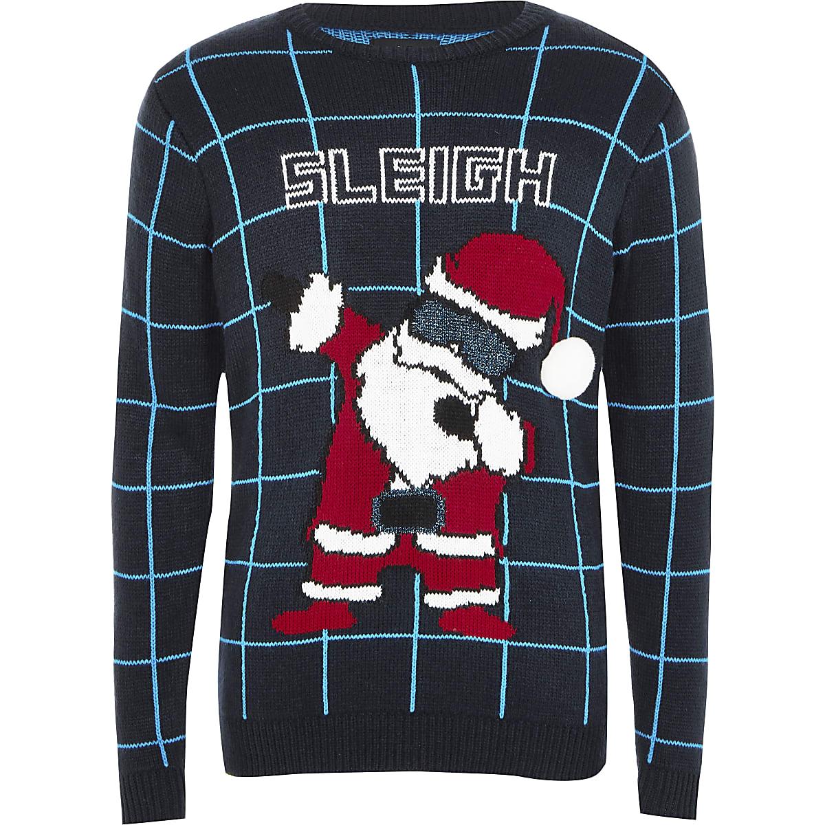 Boys blue 'Sleigh' knitted jumper