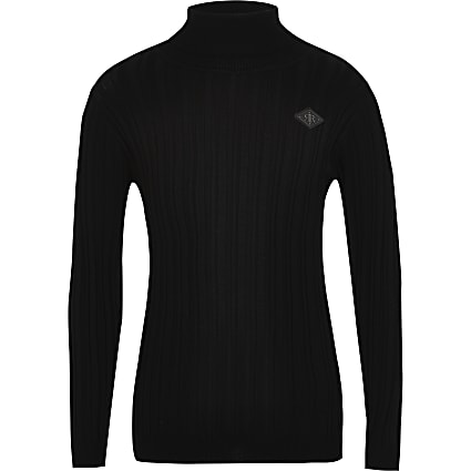 Boys black ribbed roll neck jumper