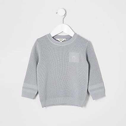 Mini boys grey textured jumper