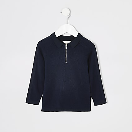 Mini boys navy pique long sleeve polo shirt