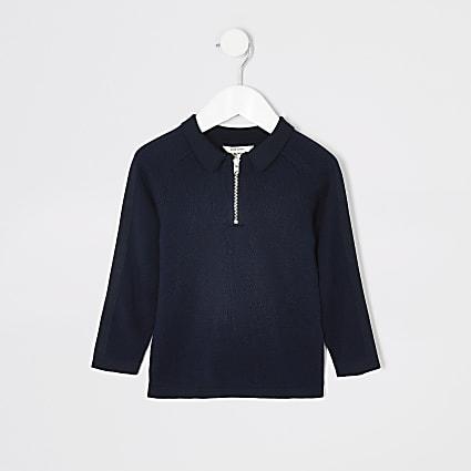 Mini boys navy pique long sleeve polo shirt