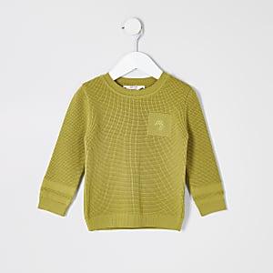 Mini - Groene gebreide Maison Riviera pullover voor jongens