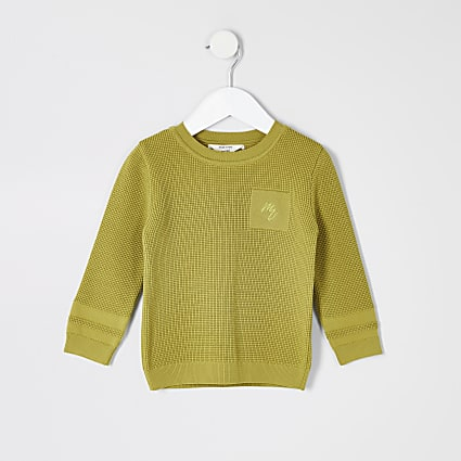 Mini boys green Maison Riviera knitted jumper