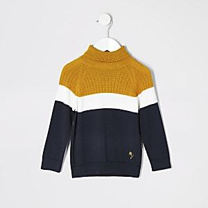 Mini - Marineblauwe pullover met col en kleurvlakken voor jongens