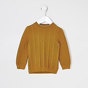 Mini - Maison Riviera - Gele gebreide trui voor jongens