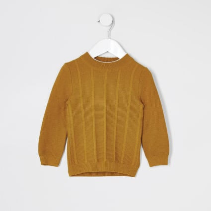 Mini boys yellow turtle neck knitted jumper