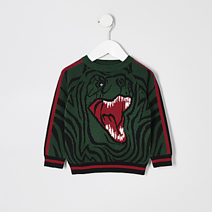Mini boys green knitted dinosaur jumper