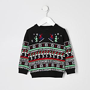 Pull de Noël noir « Sledgend » Mini garçon