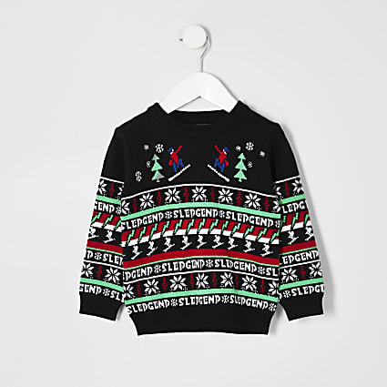 Mini boys black 'Sledgend' Christmas jumper