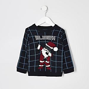 Mini - Blauwe gebreide trui met 'Sleigh'-tekst voor jongens
