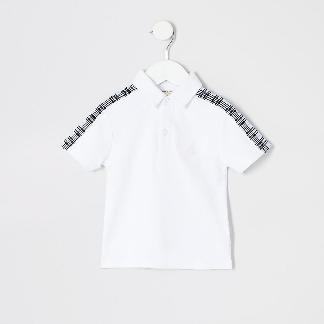 Mini boys white blue check tape polo shirt