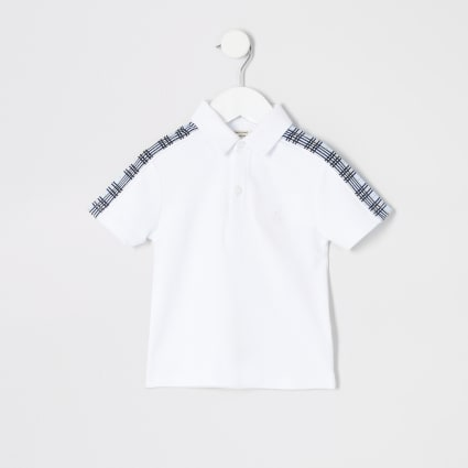 Mini boys white blue check tape polo shirt