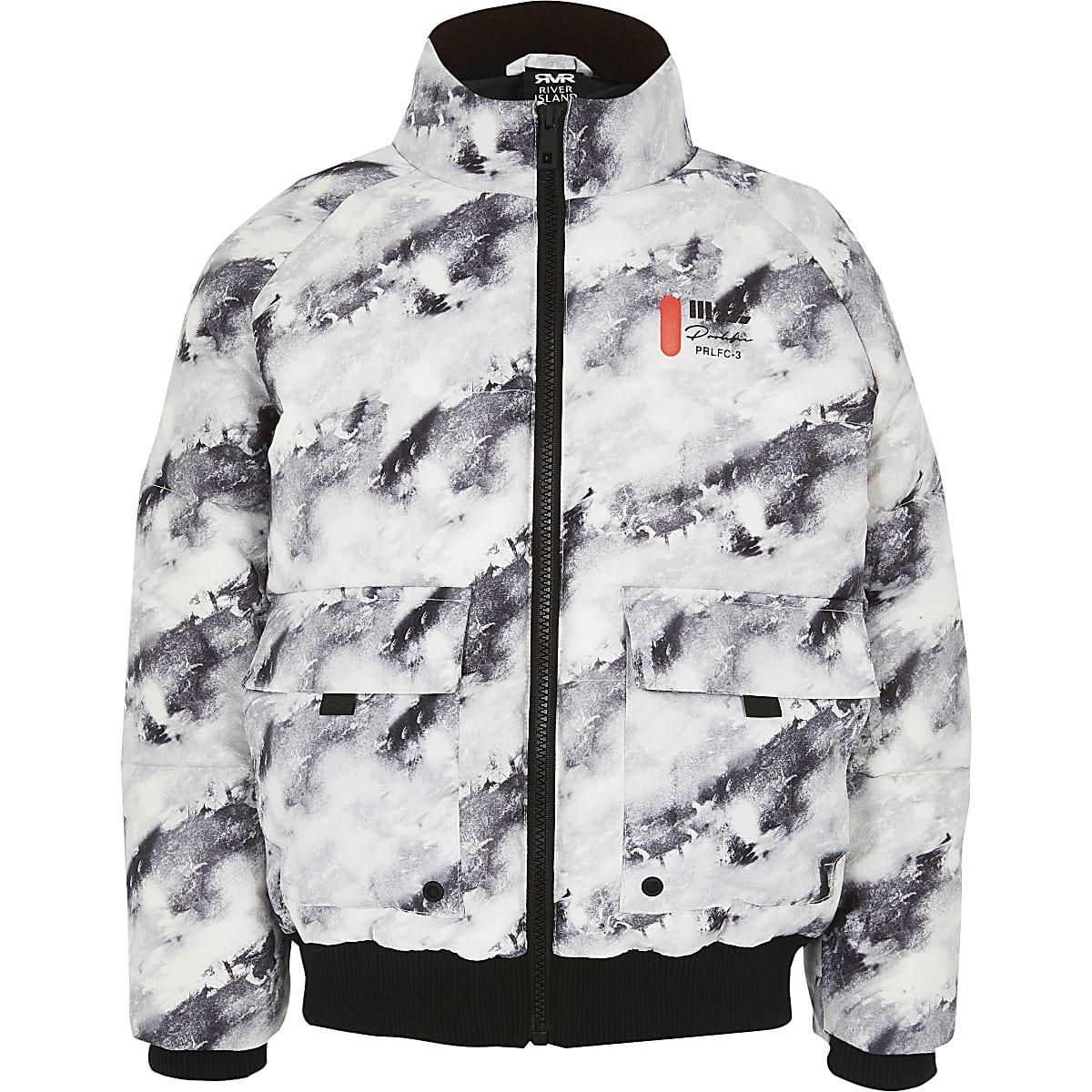 Prolific - Grijze gewatteerde jas met print voor jongens