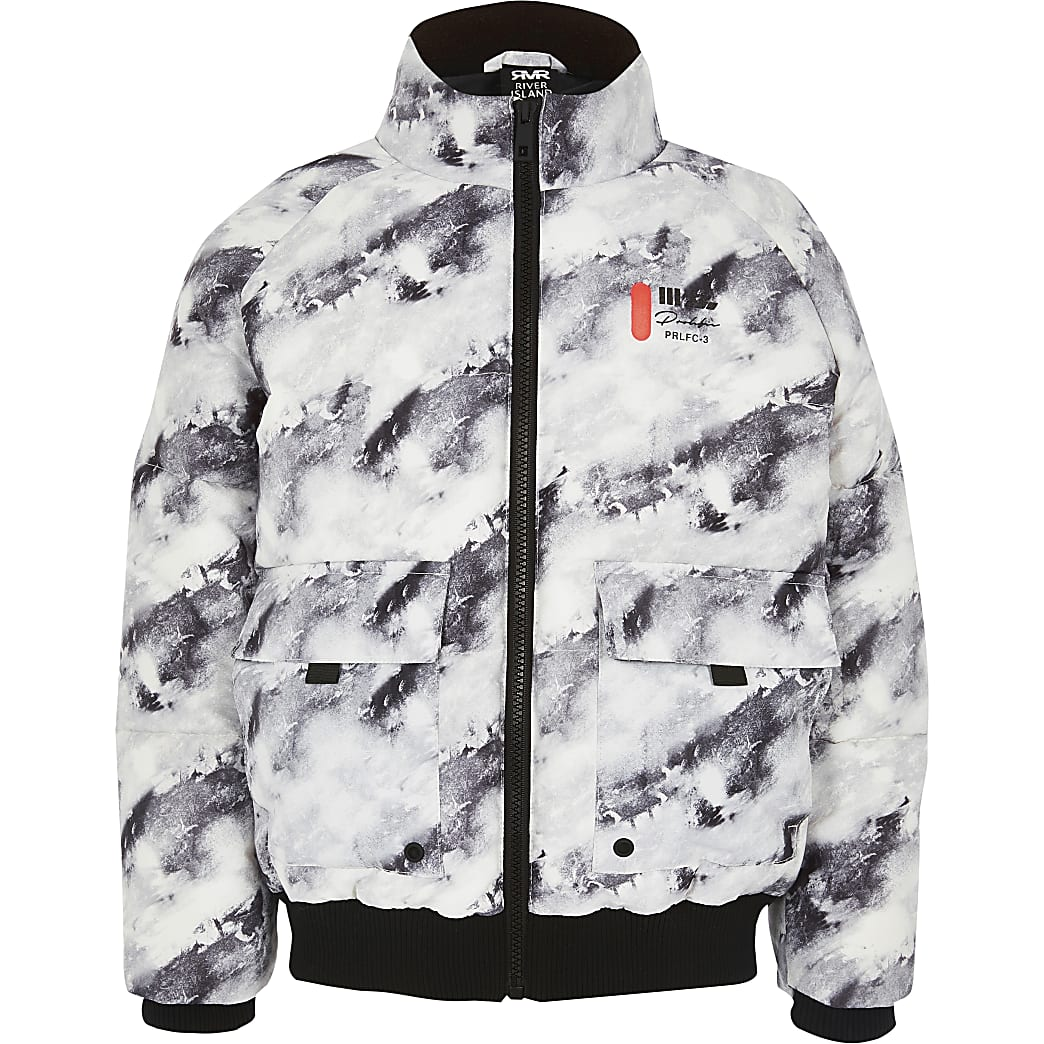 Boys grey printed Prolific puffer coat