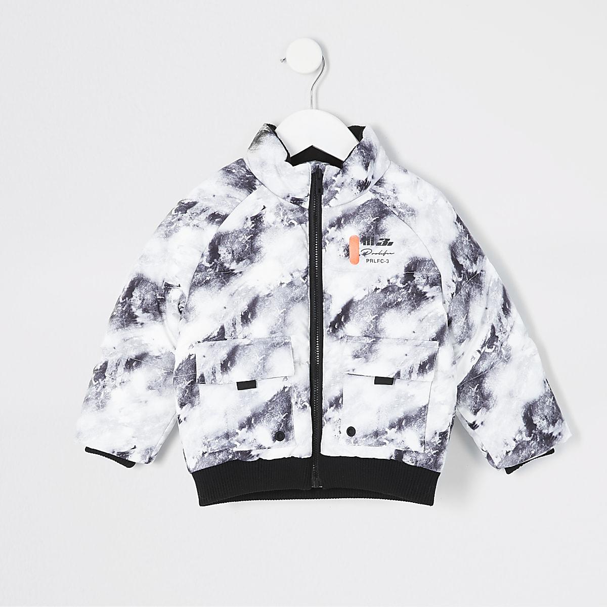 Mini boys grey print Prolific puffer jacket