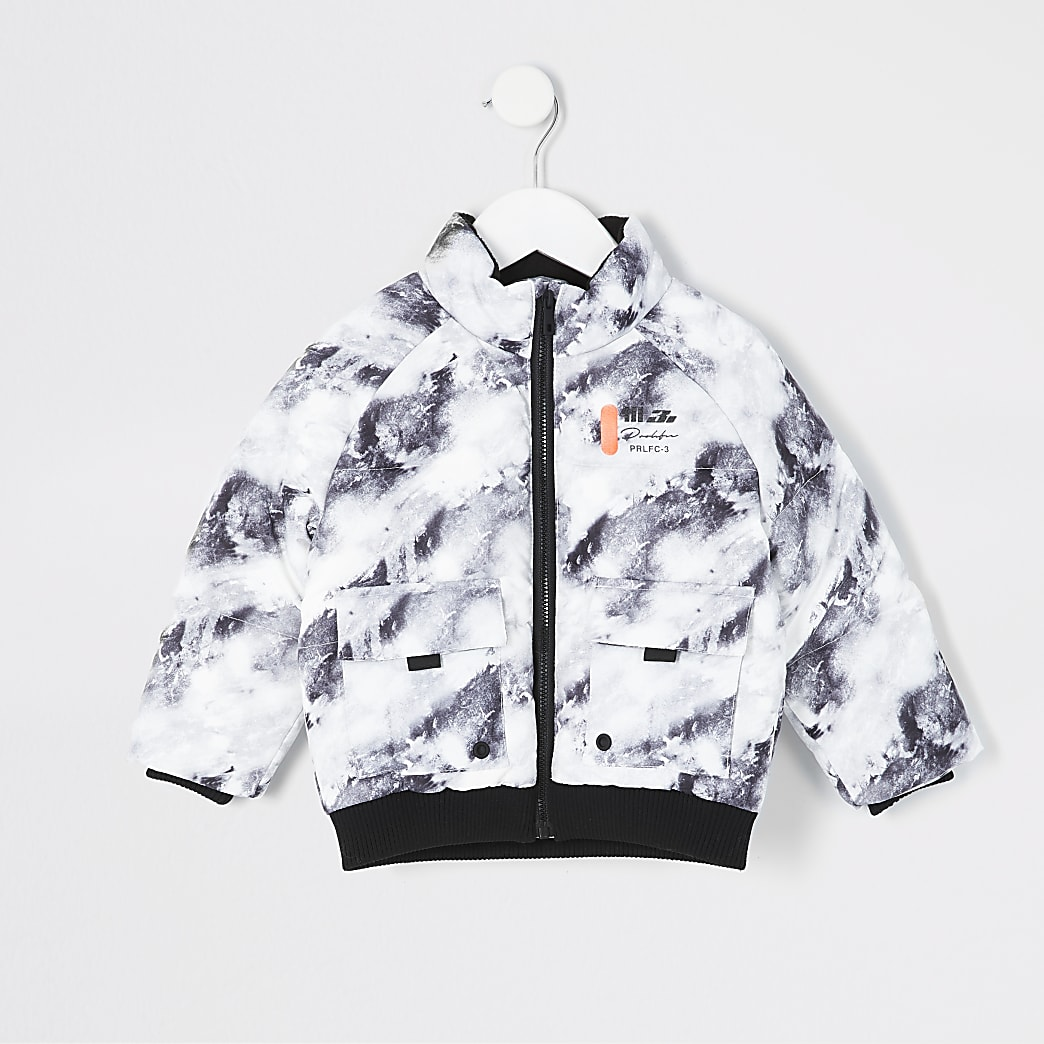 Mini boys grey print Prolific puffer jacket