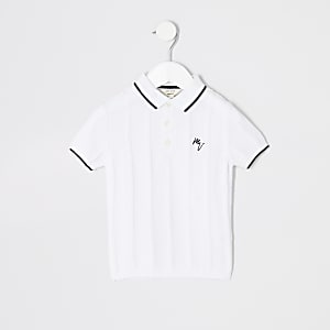 Mini boys white stitch polo shirt