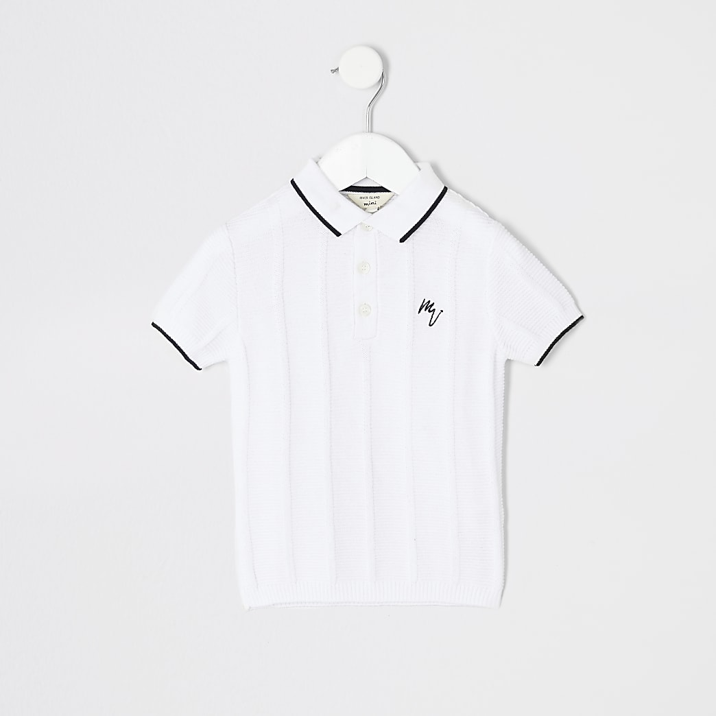 Mini boys white stitch polo shirt