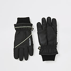 Gespleißte, gefütterte Handschuhe für Jungen in Schwarz