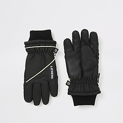 Boys black spliced padded gloves