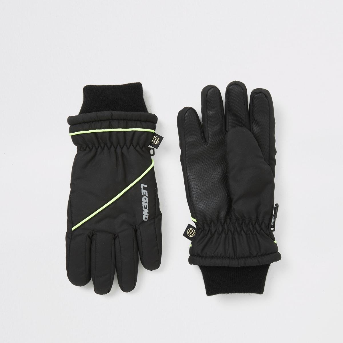 Boys black spliced padded gloves
