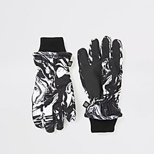 Zwarte gewatteerde handschoenen met marmerprint voor jongens