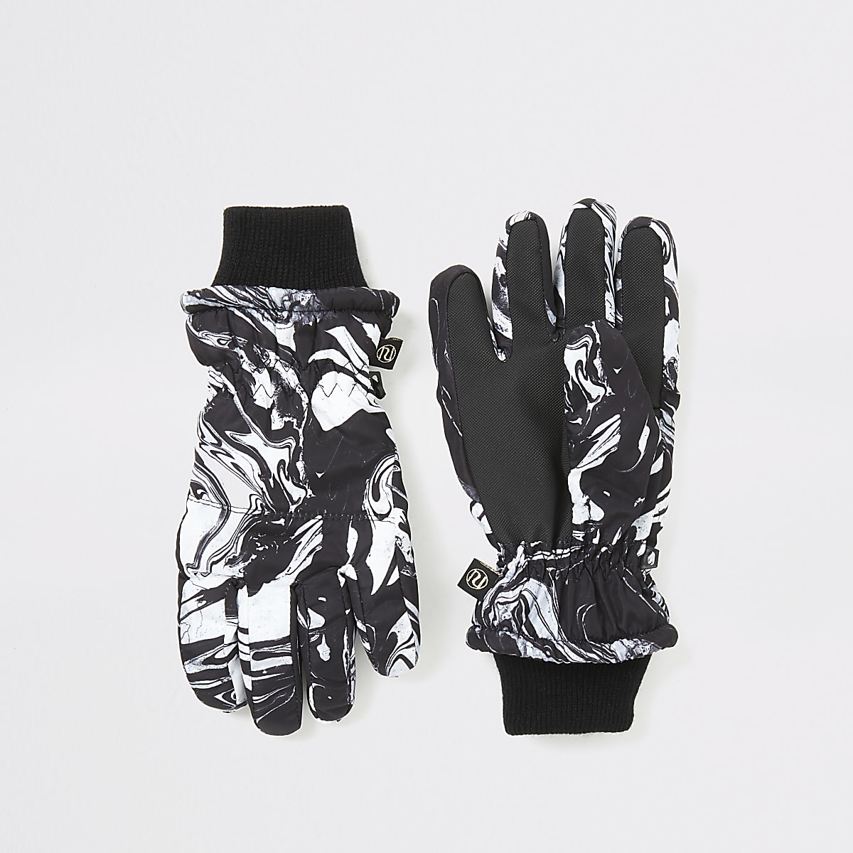 Boys black marble print padded gloves