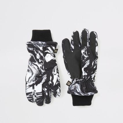 Boys black marble print padded gloves
