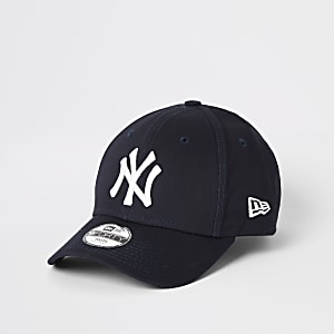 New Era – Marineblaue Kappe mit abgerundetem Schirm