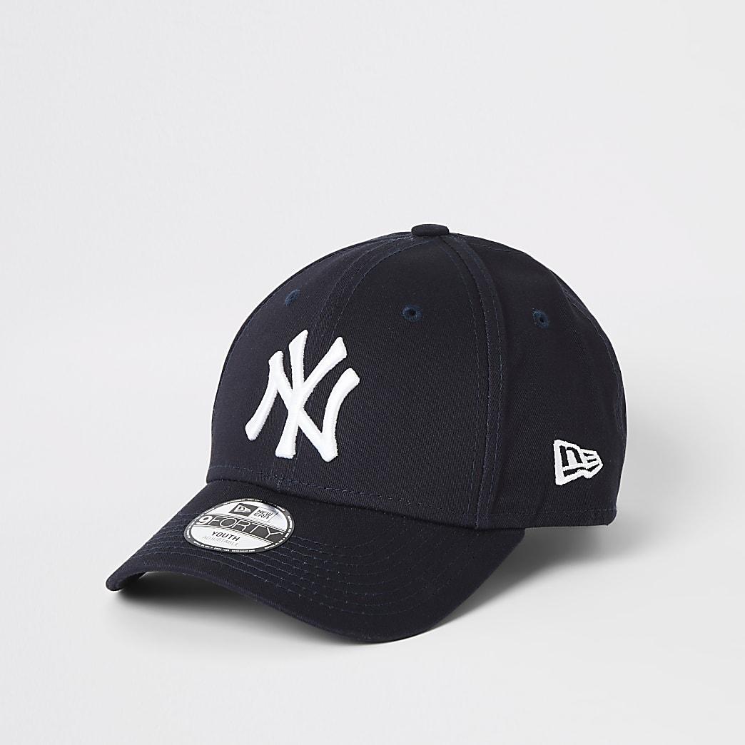 Boys New Era NY navy curved peak cap