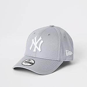 New Era – Casquette «NY» grise à visière incurvée mini garçon