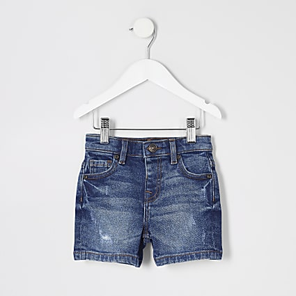 Mini boys blue distressed Dylan denim shorts