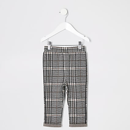 Mini boys black check trousers