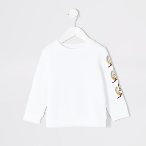 Mini boys white crest embroidered sweatshirt