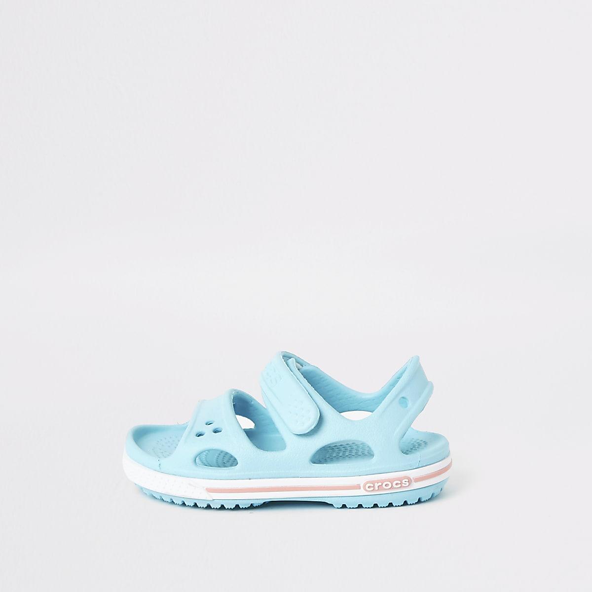 Mini kids - lichtblauwe bayaband-sandalen van Crocs