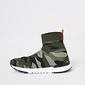Boys khaki camo sock runner trainers