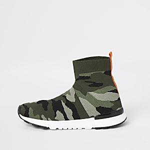 Kaki sok hardloopsneakers met camouflageprint voor jongens