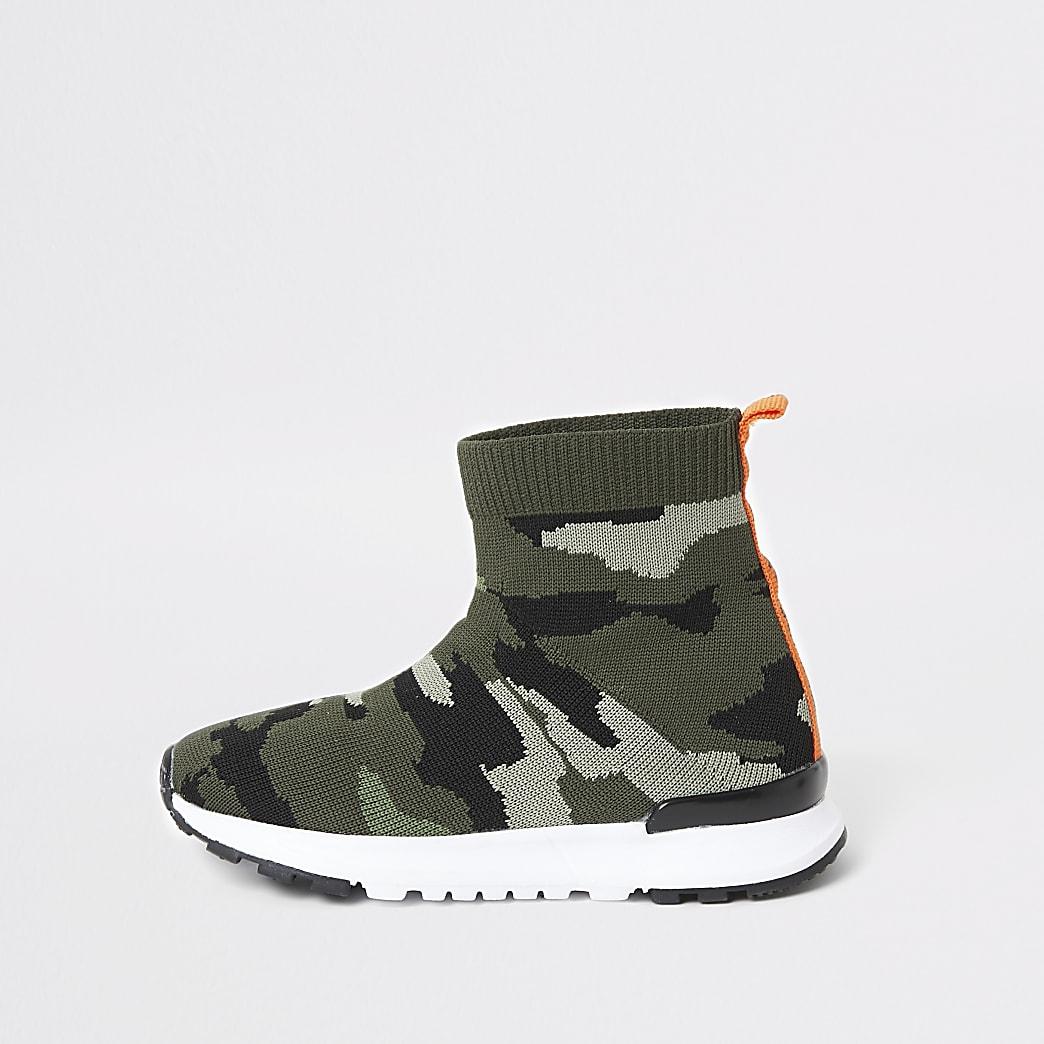 Mini - Kaki hoge sok-sneakers met camouflageprint voor jongens