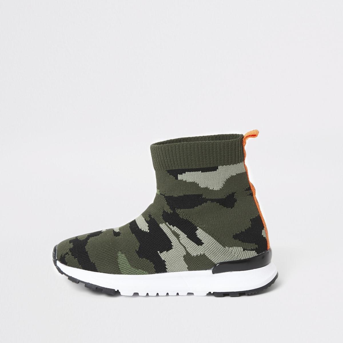 Mini – Sock-Sneaker in Khaki mit Camouflage-Muster und hohem Schaft für Jungen