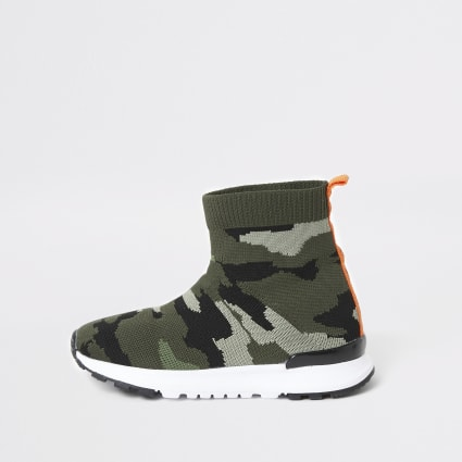 Mini boys khaki camo high top sock trainers