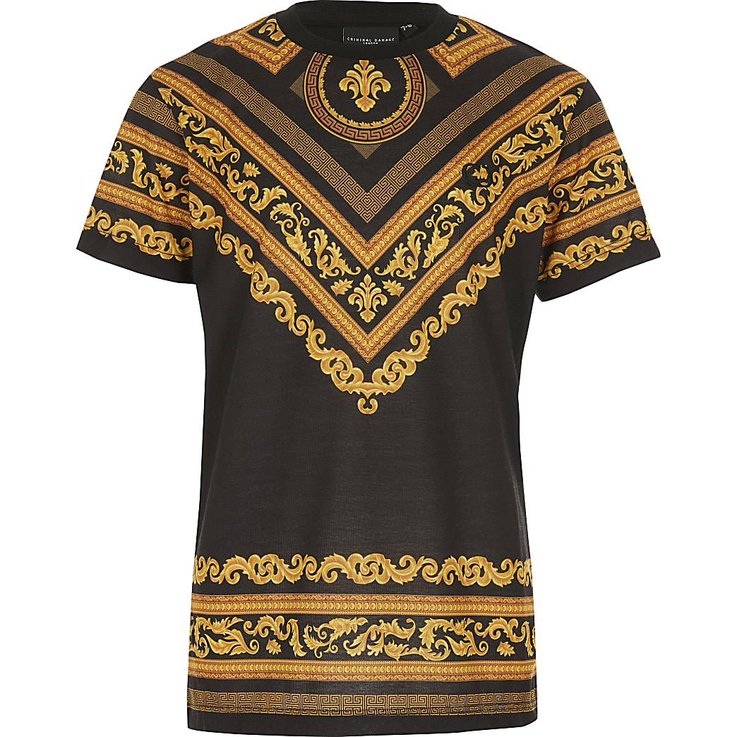 Boys Criminal Damage baroque print T-shirt