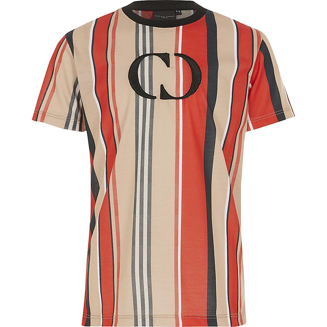 Boys Criminal Damage red stripe T-shirt