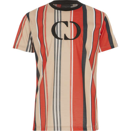Boys Criminal Damage red stripe T-shirt