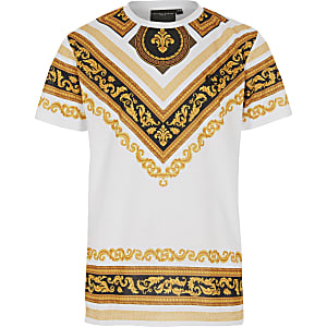 Boys Criminal Damage white baroque T-shirt