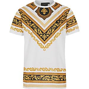Criminal Damage – T-shirt à imprimé baroque blanc pour garçon