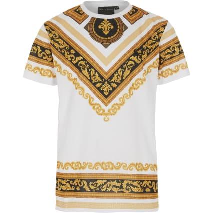 Boys Criminal Damage white baroque T-shirt
