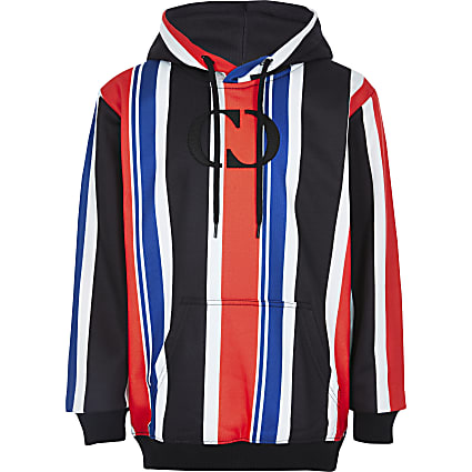Boys Criminal Damage red stripe hoody