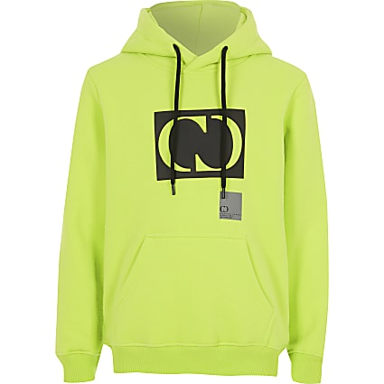 Boys Criminal Damage lime green hoodie