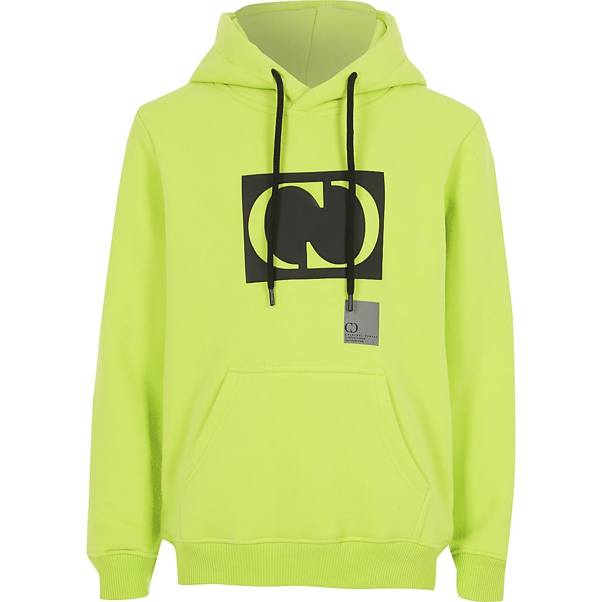 Boys Criminal Damage lime green hoodie