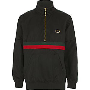 Boys Criminal Damage black half zip track top